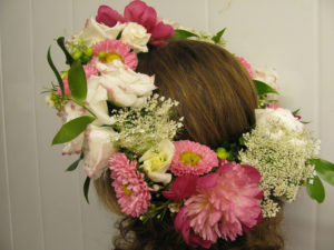 Flower crown with pinks and whites.