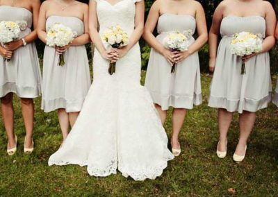Bridal Bouquet and Bridesmaids yellow and white flowers
