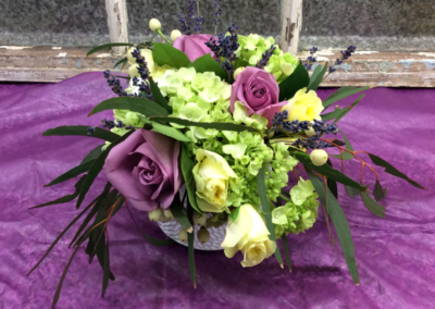 Wedding Bouquet, Purple, and yellow Roses