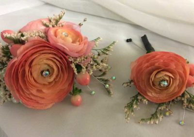 corsage and boutonniere peach
